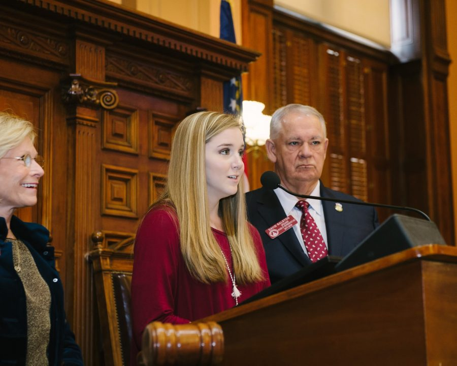 Senior, Lucy Harris expressed her thanks on behalf of the team to the representatives for the opportunity to come and visit the Capitol. Harris is a two time State Champion for AHS competition cheerleading.