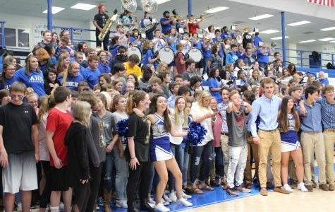 The Freshmen get a taste of what its like at a Armuchee high school pep rally.