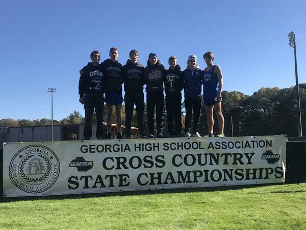 The Boys Varsity team after making 2nd place at state. (Left to right: Patrick Dupree, Blake Montgomery, Alexander Stephens, Derrell Trejo, Davis Yeargan, Wes Conley, Chaney Holder)