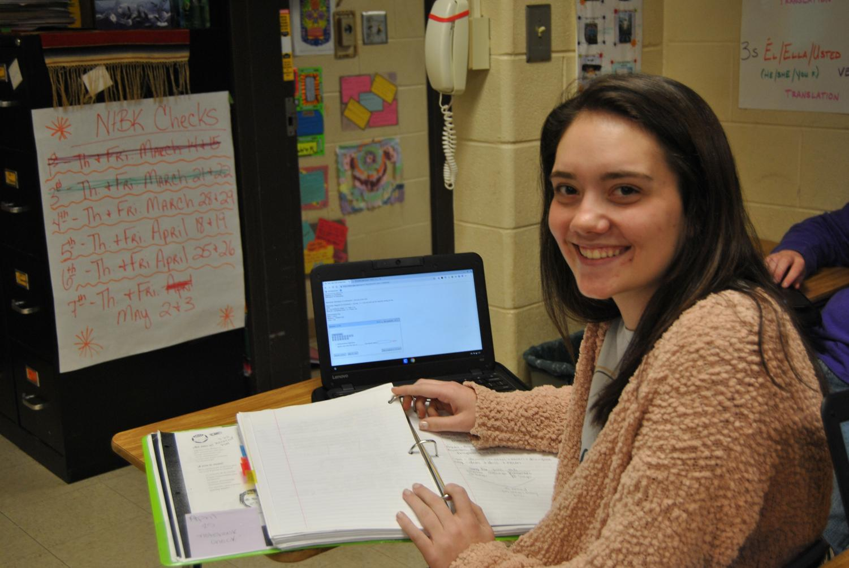 Junior, Allison Jackson working on asinment for Advanced Academic class Spanish 3.