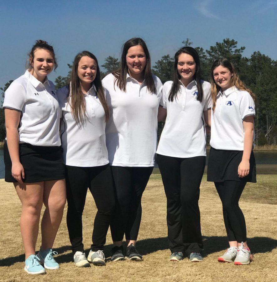 The girls golf team poses for a picture before their golf match against Rockmart. Left to right: Katie Leonard, freshman, Gracie Williams, Audrey Young, Allison Jackson, juniors, and Logan Lively, sophomore.