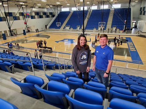 Coach Arp and Coach Decker exploring the New Gymnasium.