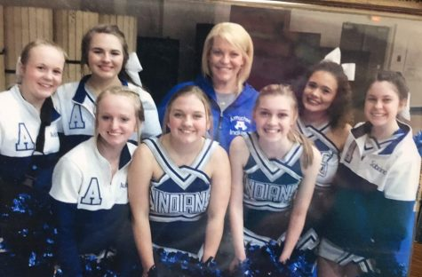 Competition cheer team with Coach Dougherty