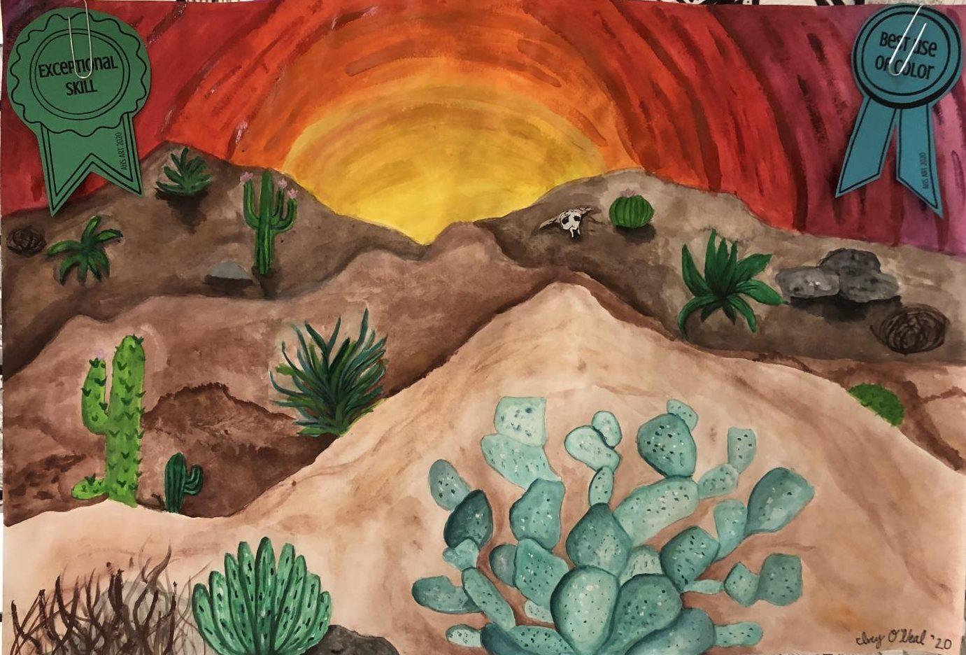 Armuchee High Art: Desert Watercolor Landscape